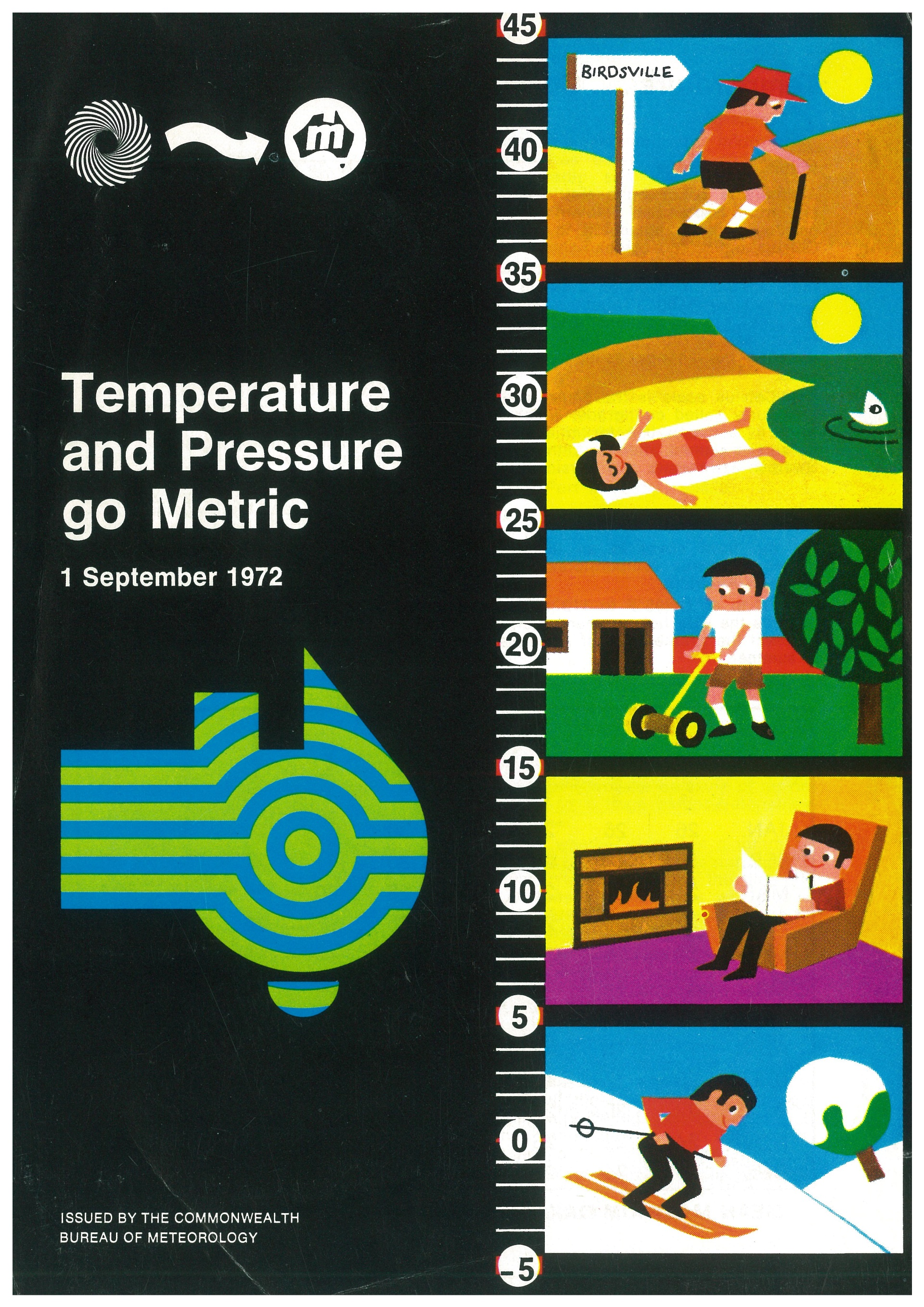 Bureau of Meteorology, 'Temperature and Pressure go Metric', 1 September 1972. Front cover of a pamphlet issued to raise public awareness of the upcoming metric conversion. Reproduced by permission of Bureau of Meteorology, © 2019 Commonwealth of Australia