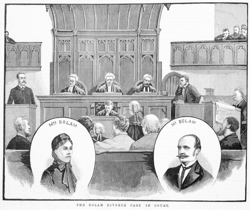 'The Bolam divorce case in court', Illustrated Australian News (Melbourne), 3 October 1883, p. 156, State Library Victoria, IAN03/10/83/156