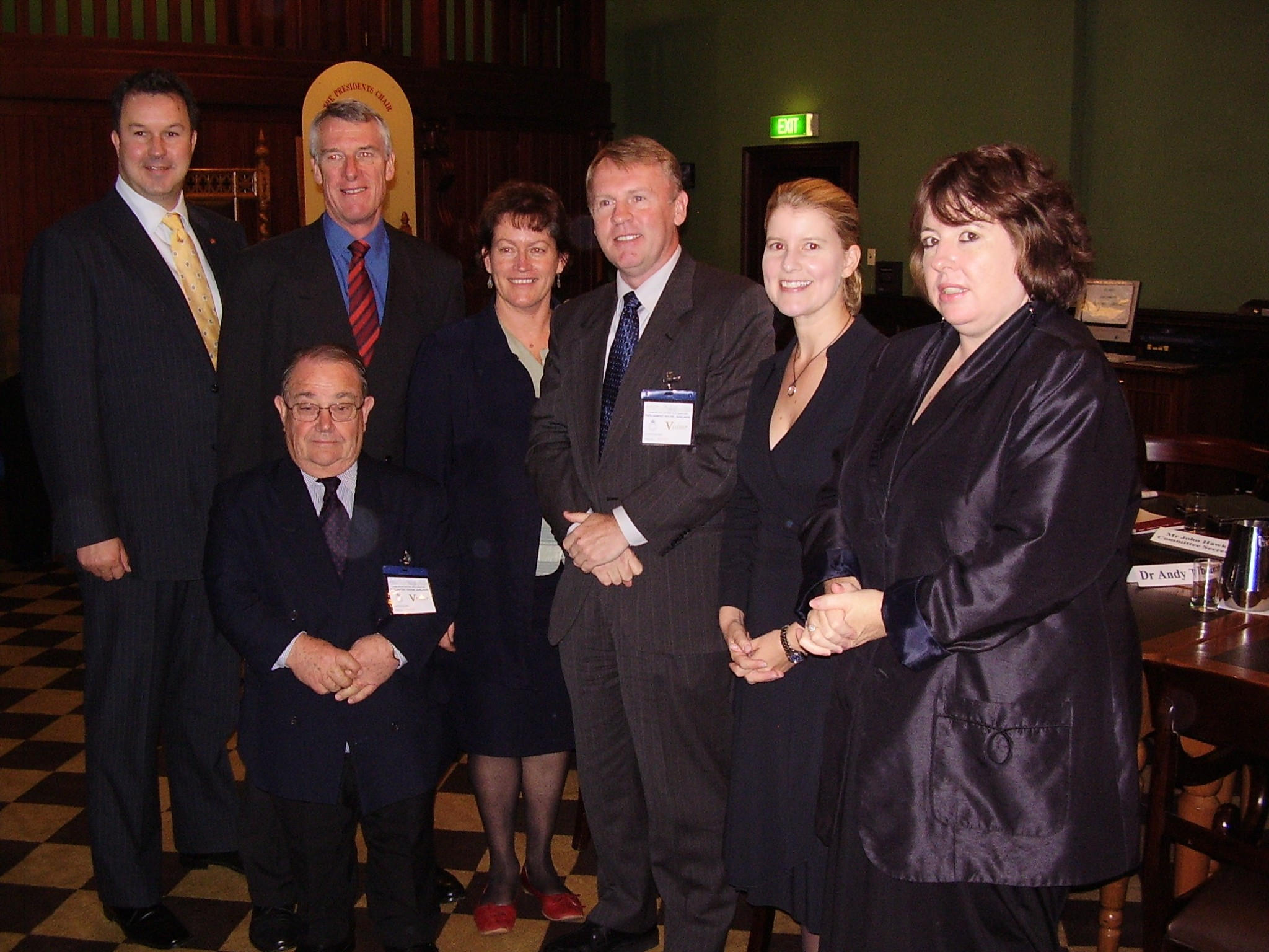 Standing Committee on Economics with aerospace engineer and former NASA astronaut Dr Andy Thomas, Adelaide, 23 May 2008. L-R: Senators David Bushby, Alan Eggleston, Grant Chapman and Annette Hurley [Chair], Dr Thomas, Senators Natasha Stott Despoja and Ruth Webber.