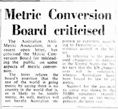 'Metric Conversion Board criticised', The Canberra Times, 22 March 1976, p. 7, http://nla.gov.au/nla.news-article110809438