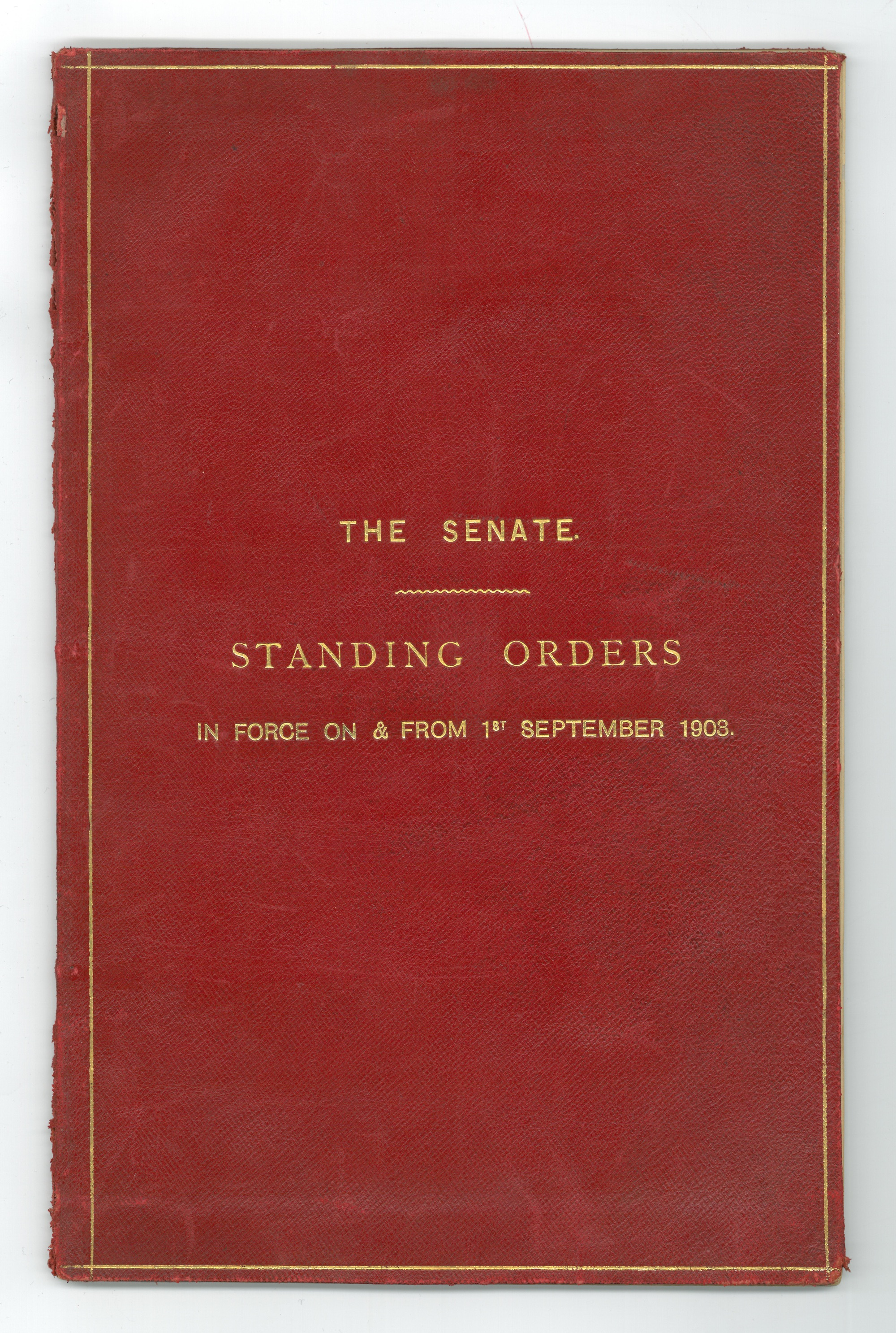The first Senate standing orders of 1903