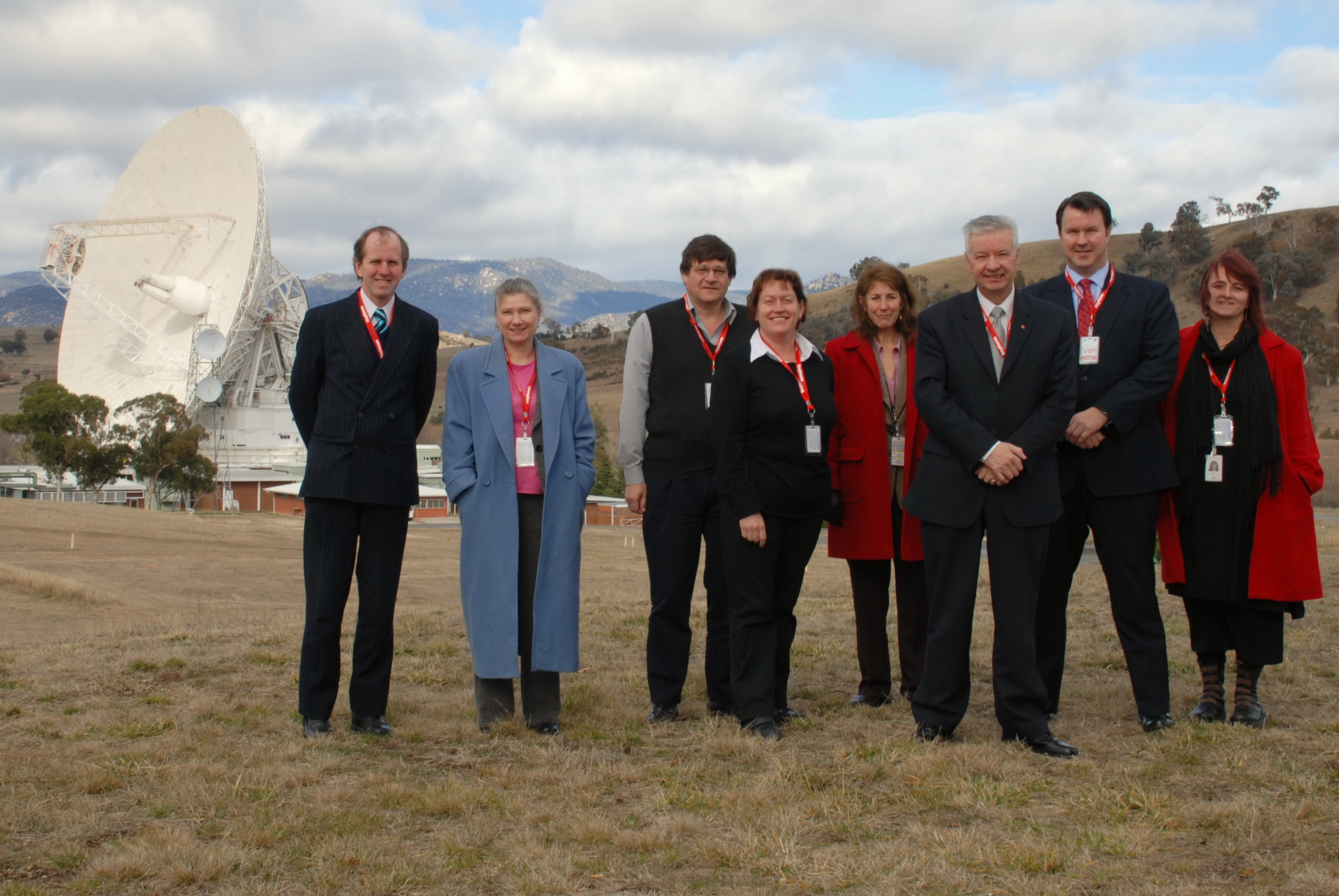 Standing Committee on Economics at the Canberra Deep Space Communication Complex, Tidbinbilla, ACT, 28 July 2008. L-R: John Hawkins [Committee Secretary], Stephanie Holden [Senior Research Officer], unknown, Senator Annette Hurley [Chair], unknown, Senators Doug Cameron and David Bushby, unknown.