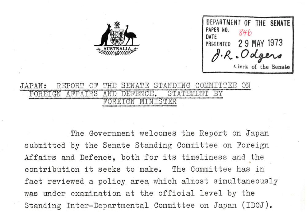 The first government response to a committee report, tabled on 29 May 1973.